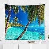 Yhjdcc Strandteppich Palmen Tropisches Blaues Meer Moorea Tahiti Island Wandteppich f¨¹r Schlafzimmer Zimmer Dekor Wandbehang Wandkunst Wandteppich 150cm x 200 cm