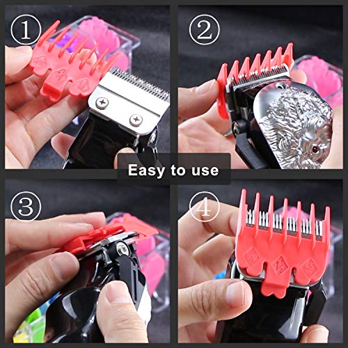 """Product Image 3: 10 Professional Hair Clipper Guards. Color Coded Guides/Combs- 1/16"""" to 1"""" – Compatible with Most Size Wahl Clippers"""