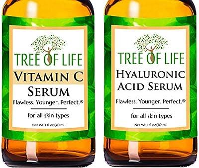 Anti Aging Serums - Vitamin C Serum and Hyaluronic Acid Serum 2-Pack Set (1 of each Anti Wrinkle Serum)