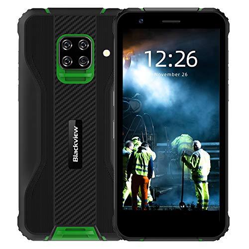 Blackview BV5100 IP69K Outdoor Smartphone ohne Vertrag - 5.7 Zoll HD+ 16MP+13MP Quad-Kamera, 4GB ROM + 128GB RAM, Android 10 Octa-core Dual-SIM 5580mAh Handy - NFC/GPS/OTG/Face ID - Global Version