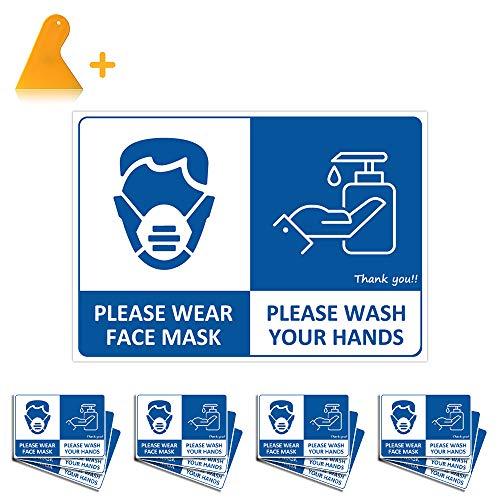Señal Uso Obligatorio de Mascarilla&Lavado a Mano, TAOPE 12 PACK Please Wear Face Mask&Wash Your Hands Signo/Etiqueta de Vinilo Impermeable, Pegatinas de Pared Autoadhesivo para Escuelas Hospitales