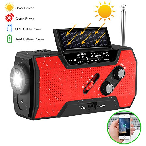 NOAA weerstation radio emmergency solar handslinger zelfaangedreven 3AAA batterij zaklamp 2000 mAh Power Bank multipurpose rood