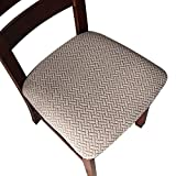 Genina Seat Covers for Dining Room Chair Seat Slipcovers Kitchen Chair Covers (Taupe, 4 Pcs)
