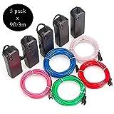 Sunboia 5 Stück 3M EL Wire Kit EL Kabel Neon Beleuchtung leuchtschnur Neon Beleuchtung Draht...