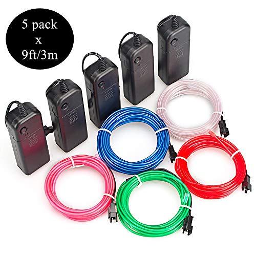 Sunboia 5 Stück 3M EL Wire Kit EL Kabel Neon Beleuchtung leuchtschnur Neon Beleuchtung Draht Lichtschlauch Leuchtschnur für Weihnachtsfeiern Rave Partys Halloween Kostüm Pub(Rot,Grün,Blau,Weiß,Rosa)