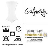 Gräfenstayn® Stretch Stehtischhusse Diana mit Öko-Tex Siegel, Verstärkung im Fußbereich, 40°C Maschinenwäsche in vielen Farben und Größen Ø60-65cm / Ø70-75cm / Ø80-85cm (Weiß, Ø60-65cm) - 4