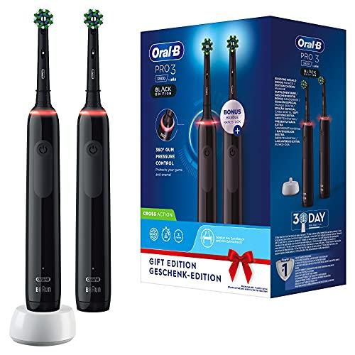 Oral-B Pro3 3900 Doppelpack Elektrische Zahnbürsten/Electric Toothbrushes mit visueller 360° Andruckkontrolle für extra Zahnfleischschutz, 3 Putzmodi inkl. Sensitiv, Timer, schwarz