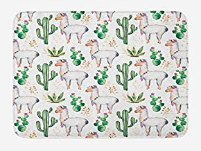 St574ony Cactus Bath Mat, Hot South Desert Plant Cactus Pattern with Camel Animal Modern Colored Image Print, Plush Bathroom Decor Mat with Non Slip Backing, 16