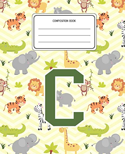 Composition Book C: Lion Safari Animals Pattern Composition Book Letter C Personalized Lined Wide Rule Notebook for Boys Kids Back to School Preschool Kindergarten and Elementary Grades K-2