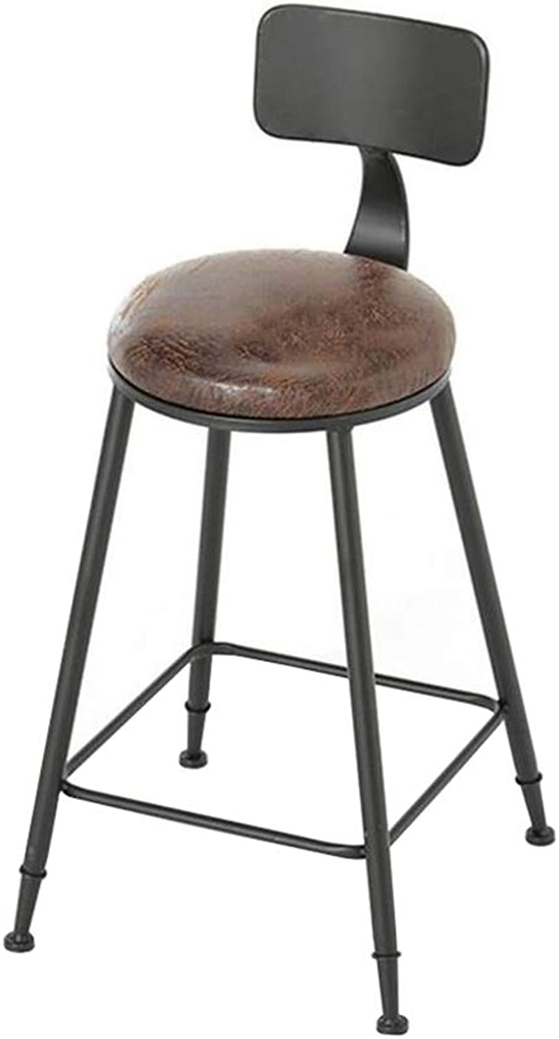 Fashion American Style Iron Art Bar Chair Retro Solid Wood   PU Leather Bar Stool Dining Chair for Family and Business (Size   46×46×65cm) ( color    2 )