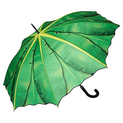VON LILIENFELD Regenschirm Bananenblatt Auf-Automatik Damen Herren Stabil Leicht Stockschirm