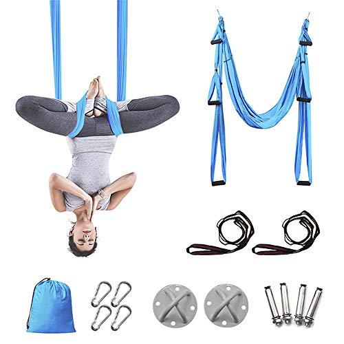 QHGao Aerial yoga hangmat, outdoor yoga schommel, licht en ademend materiaal, drievoudige hoogteverstelling, duurzame kleur zo helder