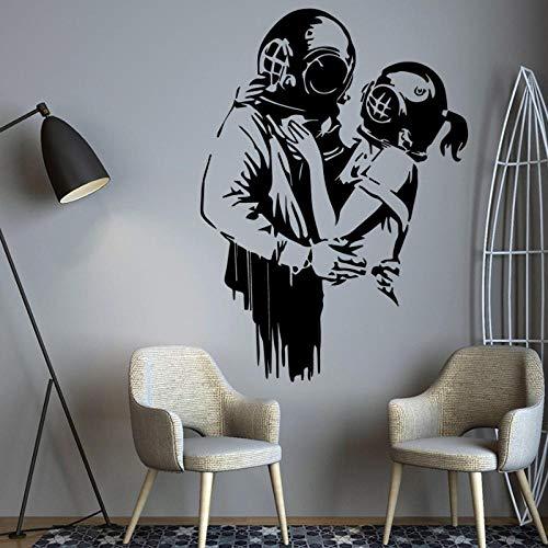 WANGHH Banksy Graffiti Decorazioni per la casa Decorazione moderna per camerette per bambini Decorazione per camerette Decorazione murale Adesivi da parete 60x43cm