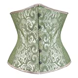 Kranchungel Women's Vintage Underbust Corset Bustier Waist Cincher Bodyshaper X-Large Green