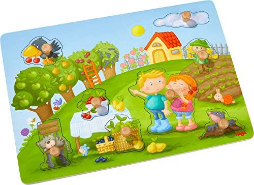 HABA 304430 - Greifpuzzle Obstgarten, 8-teiliges Holzpuzzle mit Naturmotiven und großen, griffigen Holzknöpfen, Holzspielzeug ab 12 Monaten