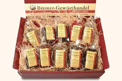 Genuss-Box Geschenksets Gewürze, wo ganz viel Pfeffer wächst, 10-teilig - Bremer Gewürzhandel
