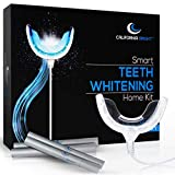 California Bright Smart Teeth Whitening Home Kit with 16X LED Light Mouthpiece, 4 Whitening Gel Pens, Portable Case and Dental Shade Guide – Smartphone & USB Compatible