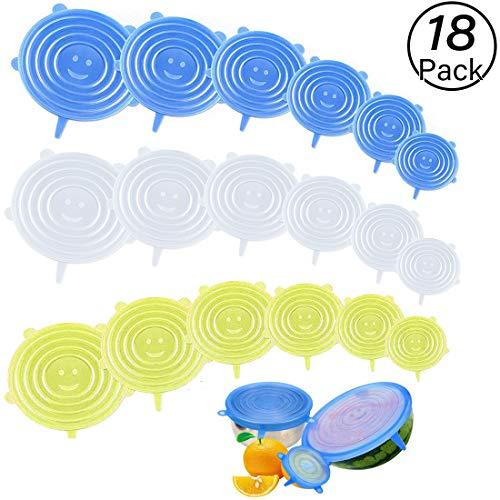 JiaHome Coperchi in Silicone Elastici ,18 Coperchio in Silicone Senza BPA e Riutilizzabili, Ideali per Diversi Contenitori, Piatti, Ciotole