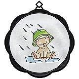 WOWDECOR Kit de broderie au point de croix Motif petits ours et animaux de pluie 11 CT estampillé DIY DMC Needlework facile débutant
