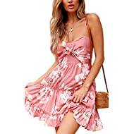 ECOWISH Womens Dresses Floral Spaghetti Strap Tie Knot Front Flowy Pleated Mini Swing Dress