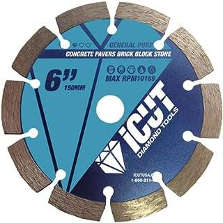 iCut Premium Segmented 10mm Diamond Saw Blade General Purpose for cutting Concrete Block Brick Pavers (6 Inch)