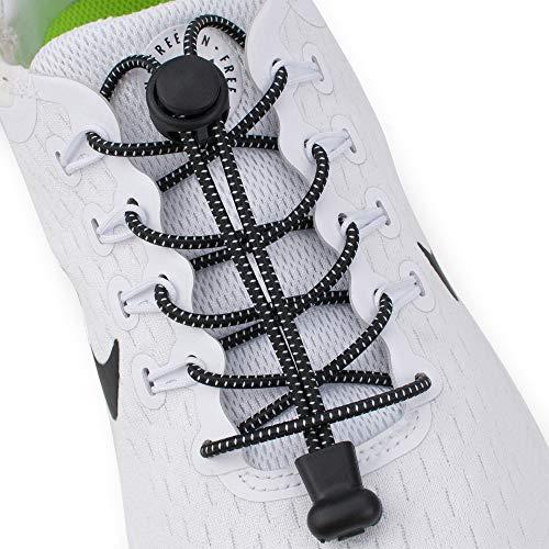 Supo Elastische rubberen schoenveters met snelsluitsysteem, individueel instellen van de lengte, zonder strikken, rubberen veters, strikloze schoenveters
