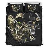 BOBONC Skull Hunter Stylish Design Bettbezug Set All Seasons Soft Einzelbett ropa de cama Sets para niños jóvenes niñas 100% poliéster, poliéster, blanco, 229x229cm