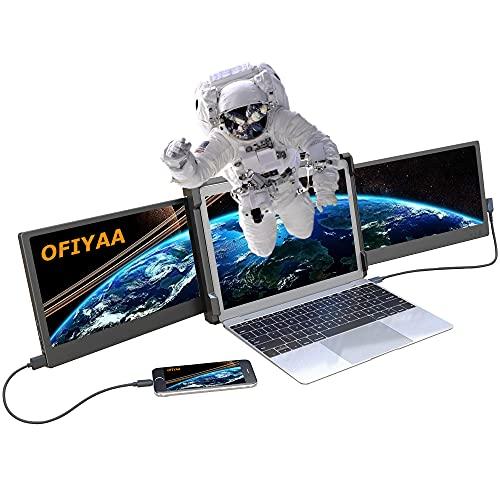 OFIYAA P2 Monitor Portátil Pantalla de Portátil Dos Pantalla Compatible con 13''-16'' Mac PC/Notebook 11.6'' FHD Display IPS USB-A/Type-C/HDMI 4 Altavoces Ordenador de Monitor Laptop Pantallas