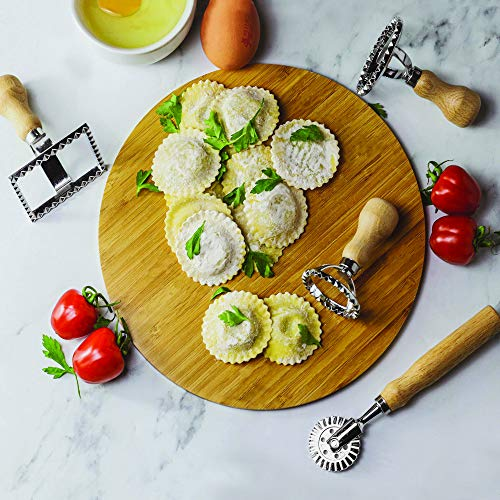 Ravioli Cutters - Set of 4   2 Round, 1 Square and Roller Cutter   Pasta Making Kit   Pastry Cutter with Wooden Handle   Dumpling Maker   M&W