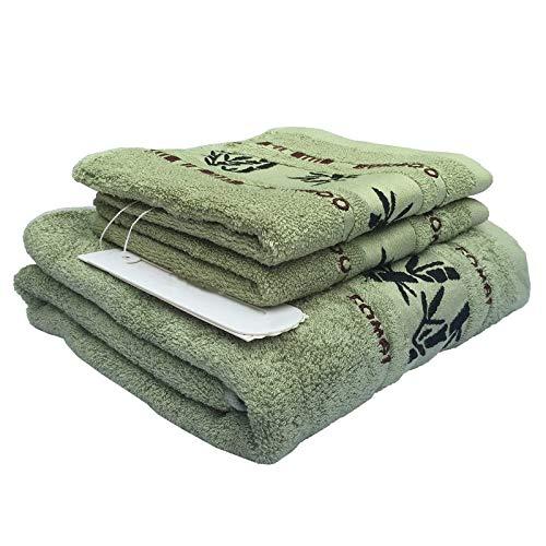 BANGSUN Juego de toallas de fibra de bambú de alta calidad, 1 toalla de baño, 2 manos naturales, ultra absorbentes, color verde