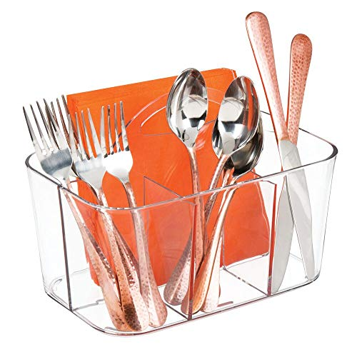mDesign Plastic Cutlery Storage Organizer Caddy Bin - Tote with Handle - Kitchen Cabinet or Pantry - Basket Organizer for Forks, Knives, Spoons, Napkins - Indoor or Outdoor Use, Small - Clear