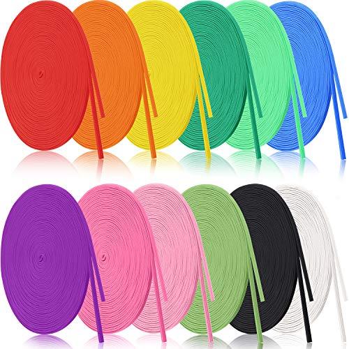 12 Rolls Braided Elastic Bands Colorful Elastic Rope/Elastic Cord Heavy Stretch Strap Cord Elasticity Knit Flat Elastic Band for Sewing Crafts DIY, Bedspread, Cuff (1/8 Inch Wide 106 Yard Long)