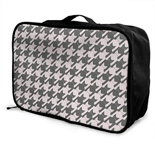 Qurbet Reisetaschen,Reisetasche, Gym Bag Waterproof Fashion Lightweight Large Capacity Portable Duffel Bag for Men & Women (Cat Houndstooth)