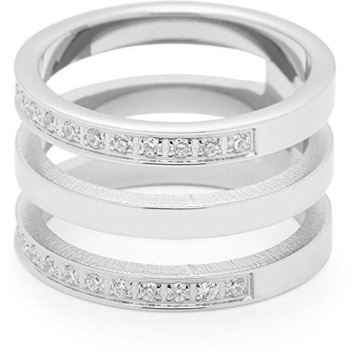 Leonardo Jewels Damen-Ring Minimo edelstahl Glas transparent Gr. 53 (16.9) - 015864