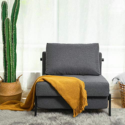 Vonanda Sofa Bed, Sleeper Convertible Chair Multi-Function Guest Bed Modern Breathable Linen Folding Bed with Hidden Legs for Small Room Apartment, Dark Gray