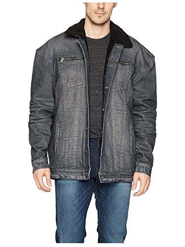 True Religion Herren Turner Sherpa Denim Jacket Jeansjacke, Kiesfarben, Groß