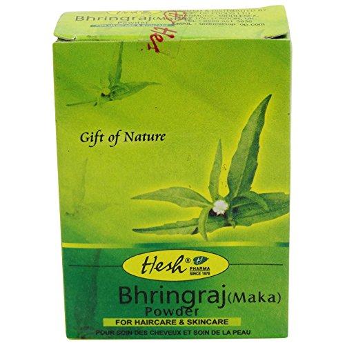 HESH - Poudre de Bhringaraj Maka- Pour des cheveux renforcés et pleins de santé - Contre la chute de cheveux et les cheveux clairsemés - Dissimule les cheveux gris