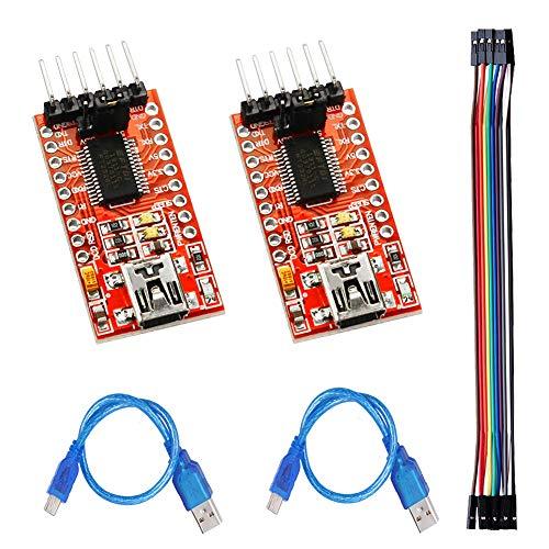 IZOKEE 2 Stück FTDI Adapter FT232RL USB zu TTL Serial für 3,3V 5V mit 2 Stück Mini-B USB Kabel und 40Pin Female-Female Jmper Wire