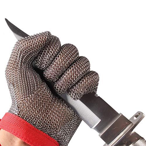 Schnittfeste Handschuhe-XHZ Einzelne schnittfeste Handschuhe aus Edelstahl 304L, Arbeitshandschuhe for Küchenmetzger, Schutzstufe 5, Grau, Größe: XS - XL (Size : X-Small)