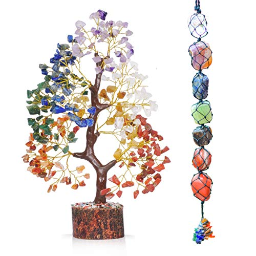 PYOR Seven Natural Gemstone Crystal Wire Bonsai Tree of Life Sculptures Tabletop Chakra Wall Hanging Decor Love Statue Feng Shui Crystals Peaceful Gifts Home Wall Decor Luck Items Desk Decoration
