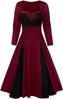 LODDD Halloween Women Plus Size Clothing Lace Insert Mock Button Bowknot Dress