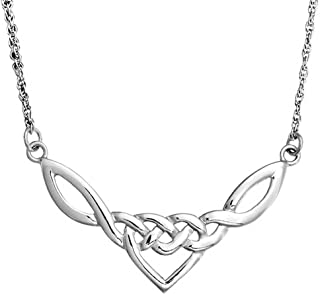 Irish Celtic Love Heart Knot Work Triquetra Pendant Necklace For Women For Teen 925 Sterling Silver 18 Inch