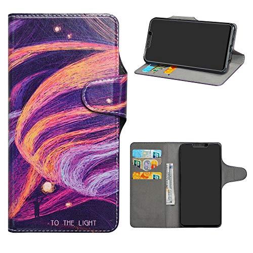 HHDY Nova 3i Funda, Diseño PU Cuero Libro Soporte Plegable y Ranuras para Tarjetas Dibujos Caso Cover para Huawei Nova 3i / P Smart+ / P Smart Plus 2018,Brilliant Purple