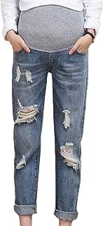 BMEIG Maternity Jeans Pregnant Elastic Soft Jeans Strappati con Buco strappato Pantaloni Donna Legging Pantaloni Regolabili in Denim