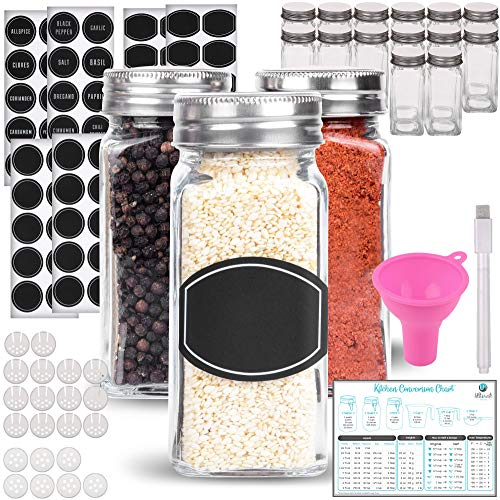 Spice Jars - Spice Containers - Spice Jar - 14 Square Glass Spice Bottles (4 oz) with 60 Chalkboard Labels, Chalk Marker, Stainless Steel Lid, Shaker Insert Tops, Funnel - Complete Organizer Set