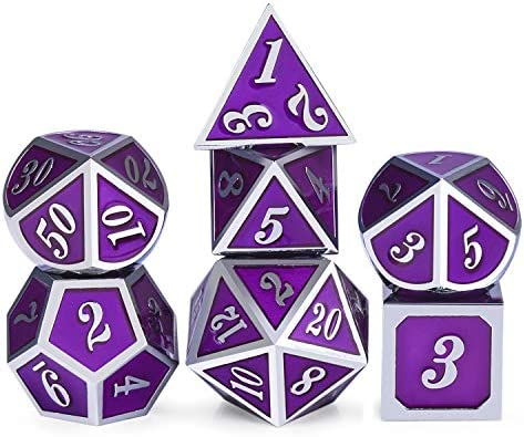 Metal Game Dice Set Soild 7 die DND Metal Dice Set Purple Surface and Silver Frame Metal Dice product image