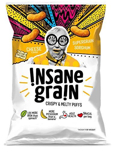 INSANE GRAIN Cheese Flavour Sorghum Supergrain Puffs   Healthy Snack   Gut Health   Low Calorie   Crisps   Vegan   Gluten Free   Probiotic   Protein   Fibre   Plant-Based - Box of 16 (24g Each)