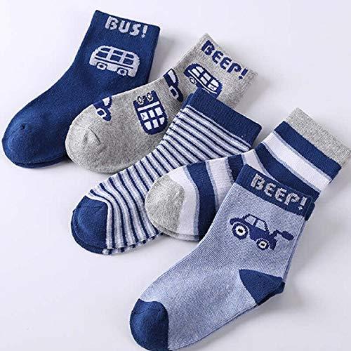 5 Paare/Los Baby Mädchen Socken Herbst und Winter Baumwolle Neugeborene Baby Socken Baby Kinder Socken für Kinder Jungen Socken 1-12 J.-Car-5-9 to 12year