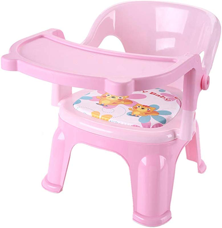Baby Dining Chair Stool Plastic Backrest Chair Cartoon Non Slip Footstool Thick Soft Sponge Pad Button Removal Tray Pink