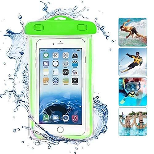ONX3 Grün universal wasserdicht Handy Strand Pool Regen Dokument Wertsachen Schutzhülle Tasche kompatibel mit Lenovo Vibe Shot